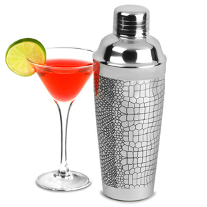 Stainless Steel Crocodile Etched Cocktail Shaker