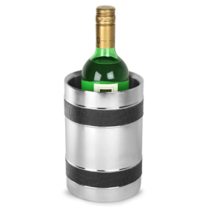Stainless Steel Double Walled Wine Cooler with Black Bands