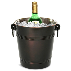 Stainless Steel Round Wine & Champagne Bucket Dark Bronze
