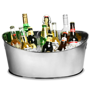 Stainless Steel Oval Party Tub Medium