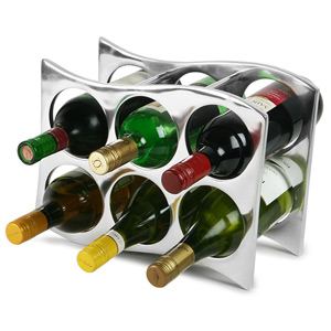Aluminium Curved 6 Bottle Wine Rack