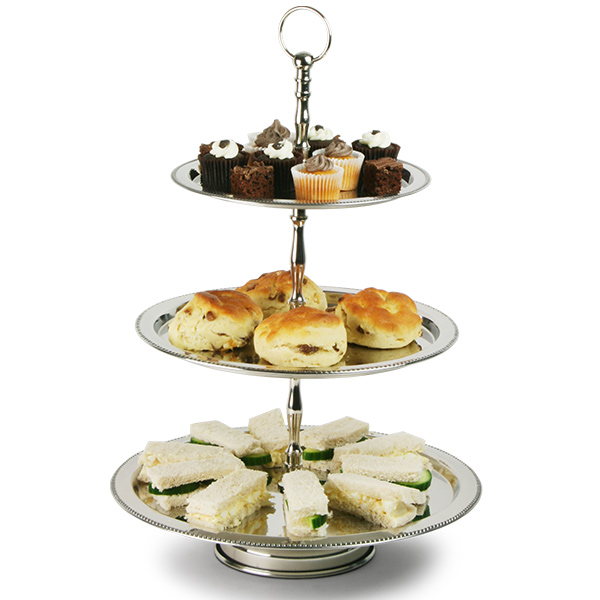 Stainless Steel 3 Tier Beaded Cake Stand Drinkstuff