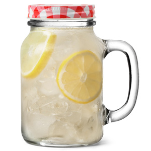 Mason Drinking Jar Glasses with Red Gingham Lids 20oz / 568ml