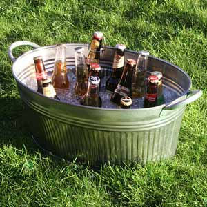 Galvanised Steel Ribbed Oval Party Tub