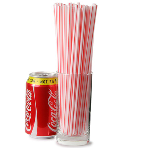 Striped Milkshake Straws 8inch Red & White