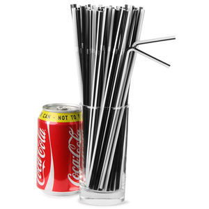 Striped Bendy Straws 9.5inch Black & White