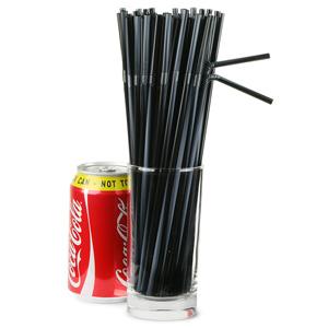 Striped Bendy Straws 9.5inch Black & Silver