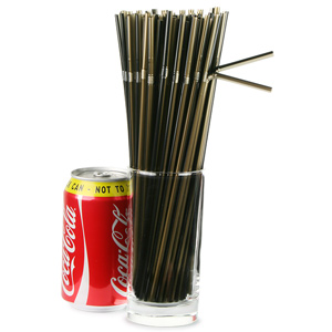 Striped Bendy Straws 9.5inch Black & Gold