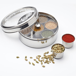 World of Flavours Indian Stainless Steel Masala Dabba Spice Box