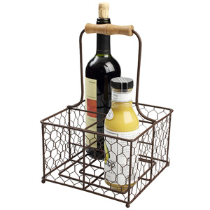 Provence 4 Bottle Holder Rustic Brown