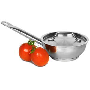 Genware Stainless Steel Sauteuse Pan & Lid 1ltr