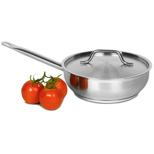Genware Stainless Steel Sauteuse Pan & Lid 2.8ltr