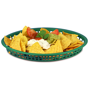 Texas Oval Platter Basket Forest Green 32.5x24x4cm