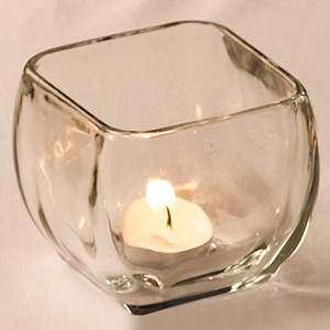 Square Glass Tealight Holder 10cm