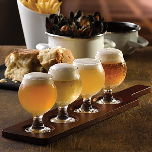 Wooden Tasting Paddle with Belgium Beer Taster Glasses