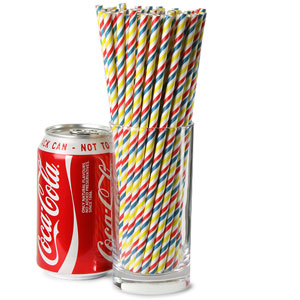 Mix & Match Multi Coloured Striped Paper Straws 8inch