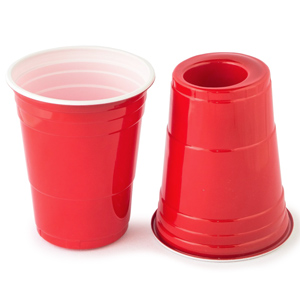 Image of 180-Cup Red American Party Cup and Shot Glass 18oz / 530ml (Case of 1000)