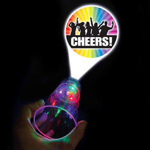 'Cheers' Flashing LED Projector Glass 17.5oz / 500ml